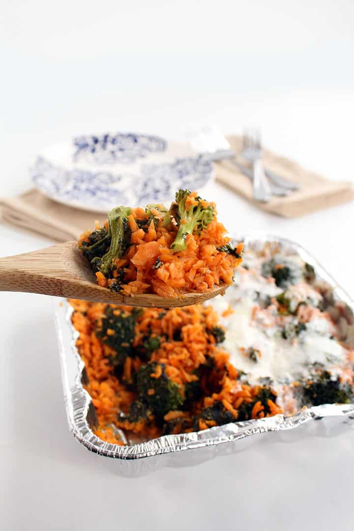 Pesto Broccoli Sweet Potato Rice Casserole - Two Ways!