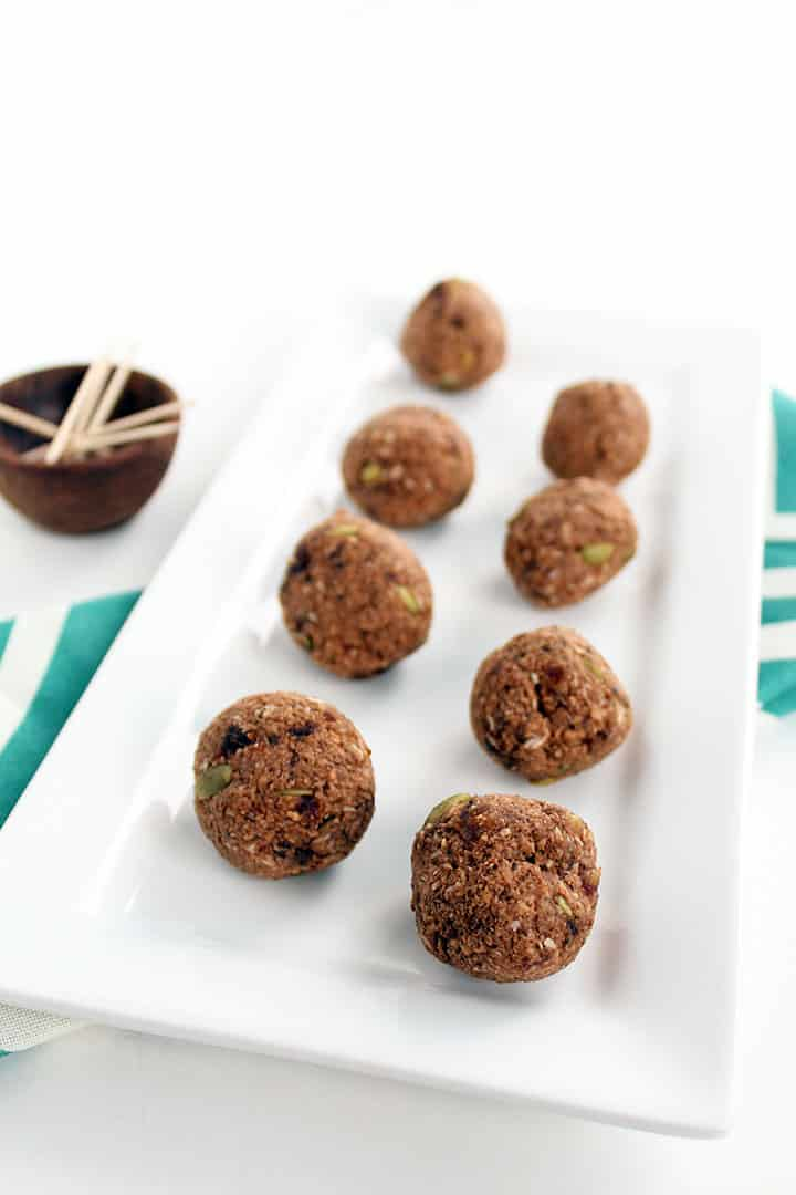 Cacao-Coconut Plantain Rice Balls with Pepitas
