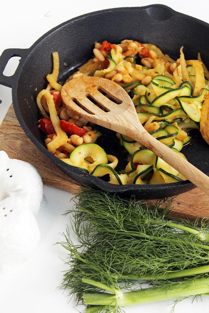 Braised Fennel, Tomato and Bean Zucchini Pasta