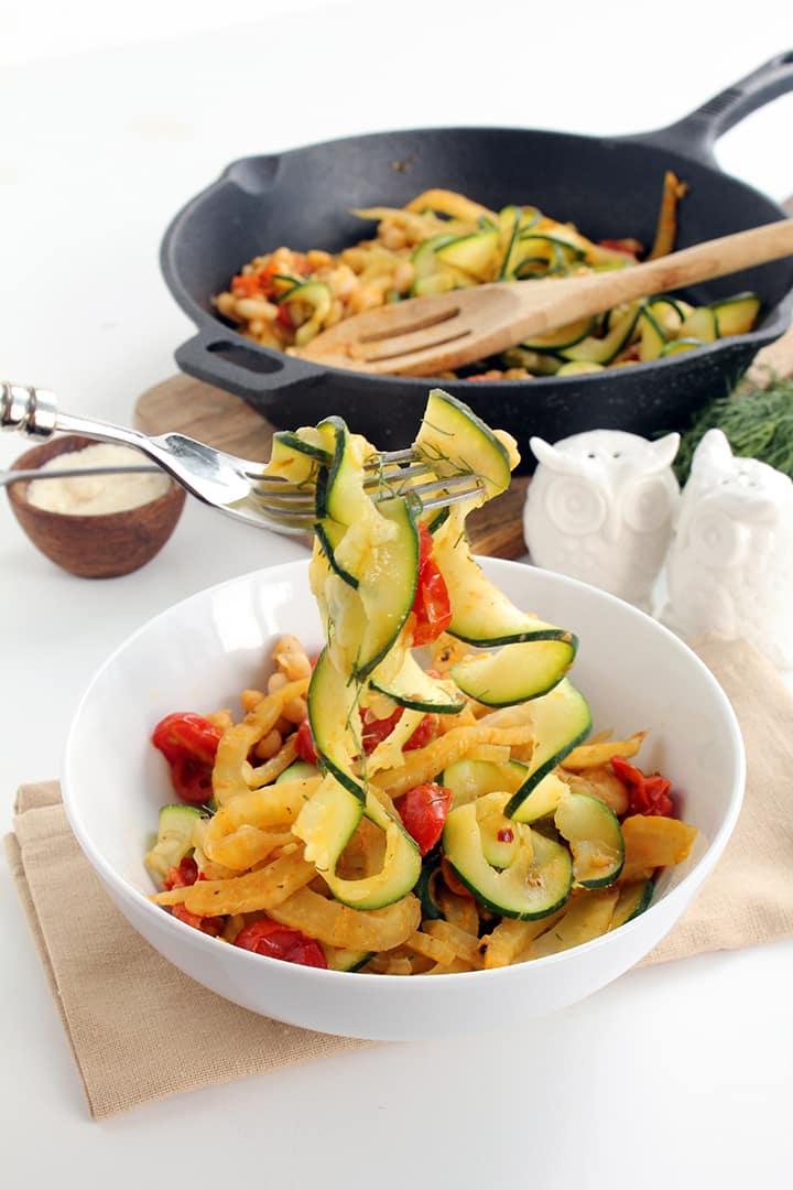 Braised Fennel, Tomato and Bean Zucchini Pasta | Inspiralized