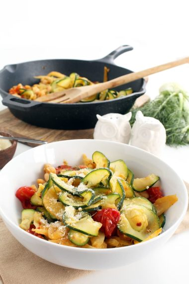 Braised Fennel, Tomato and Bean Zucchini Pasta