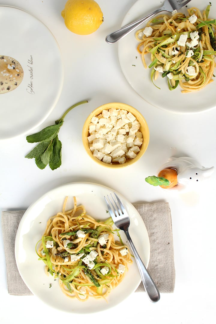 Lemon-Garlic Celeriac Noodle Salad with Feta, Mint and Shaved Asparagus