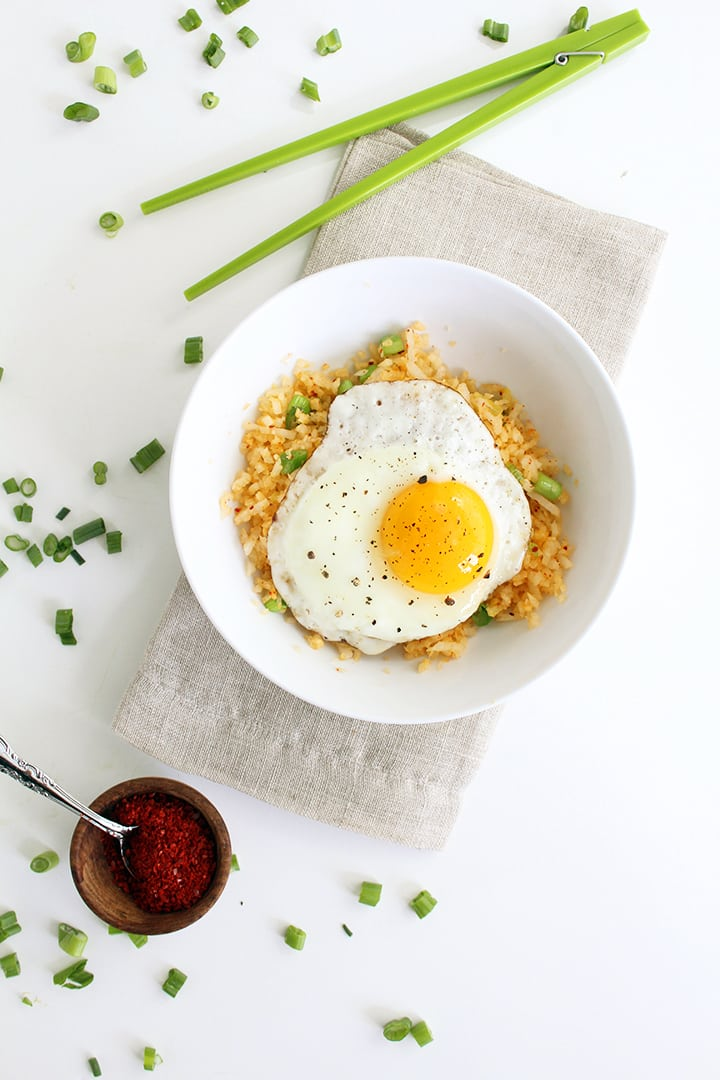 "Ginger Daikon Radish ""Rice"" with Gochugaru and Fried Egg"