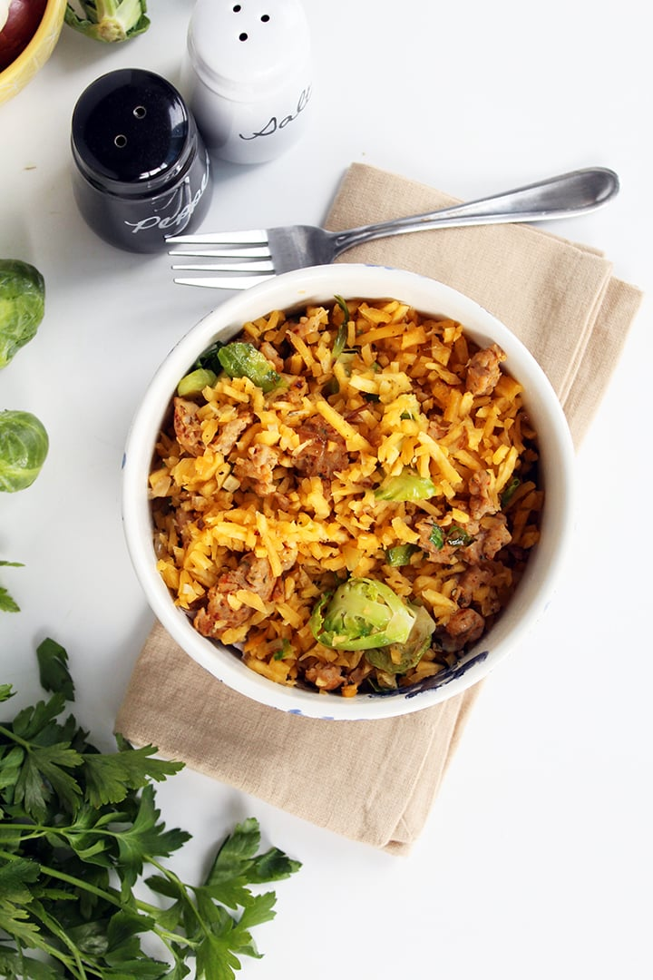 Brussel Sprout Rutabaga Rice with Chicken Sausage