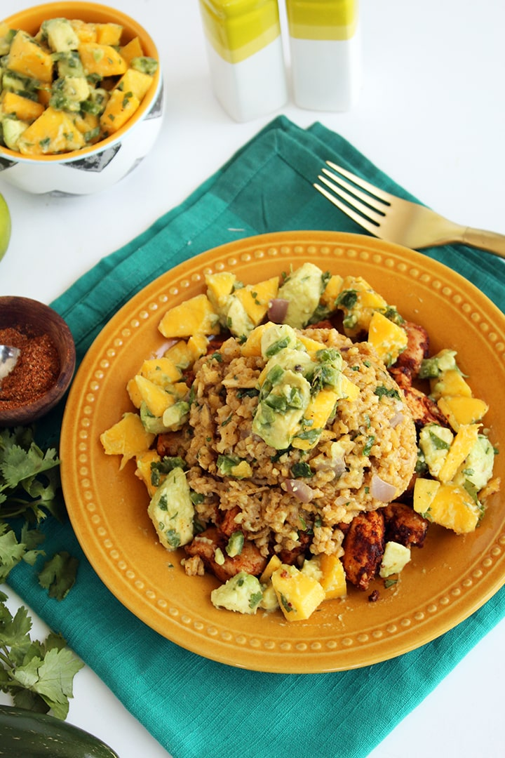 Spicy Chicken and Plantain Rice with Mango-Avocado Salsa