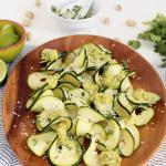 Lime-Coconut Zucchini Carpaccio with Avocado-Pistachio Drizzle