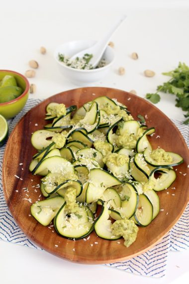 Lime-Coconut Zucchini Carpaccio with Avocado-Pistachio Drizzle