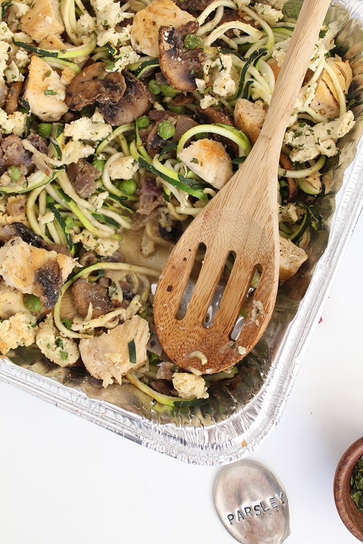 Chicken Tetrazzini with Zucchini Noodles