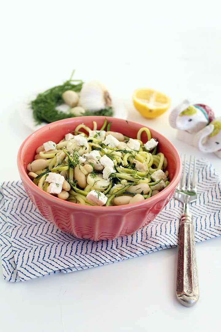 Dill Zucchini Pasta with Bean, Hearts of Palm and Feta