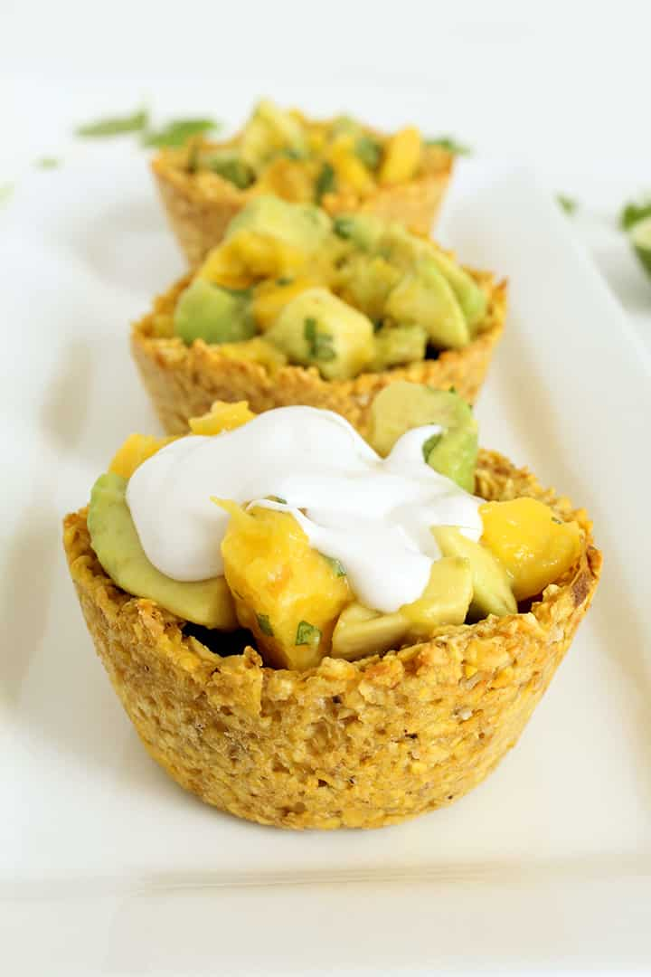 Whipped Coconut Cream Plantain Cups with Mango and Avocado