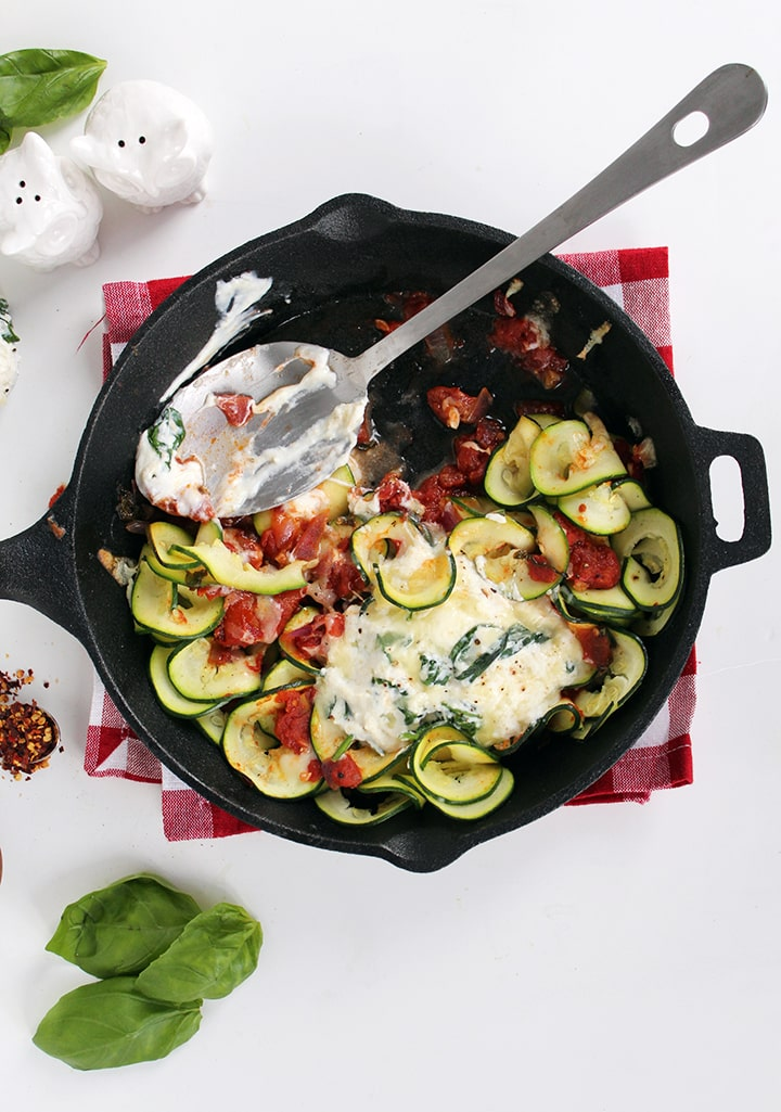 "Deconstructed Manicotti ""Skillet"" with Zucchini Noodles- Inspiralized.com"