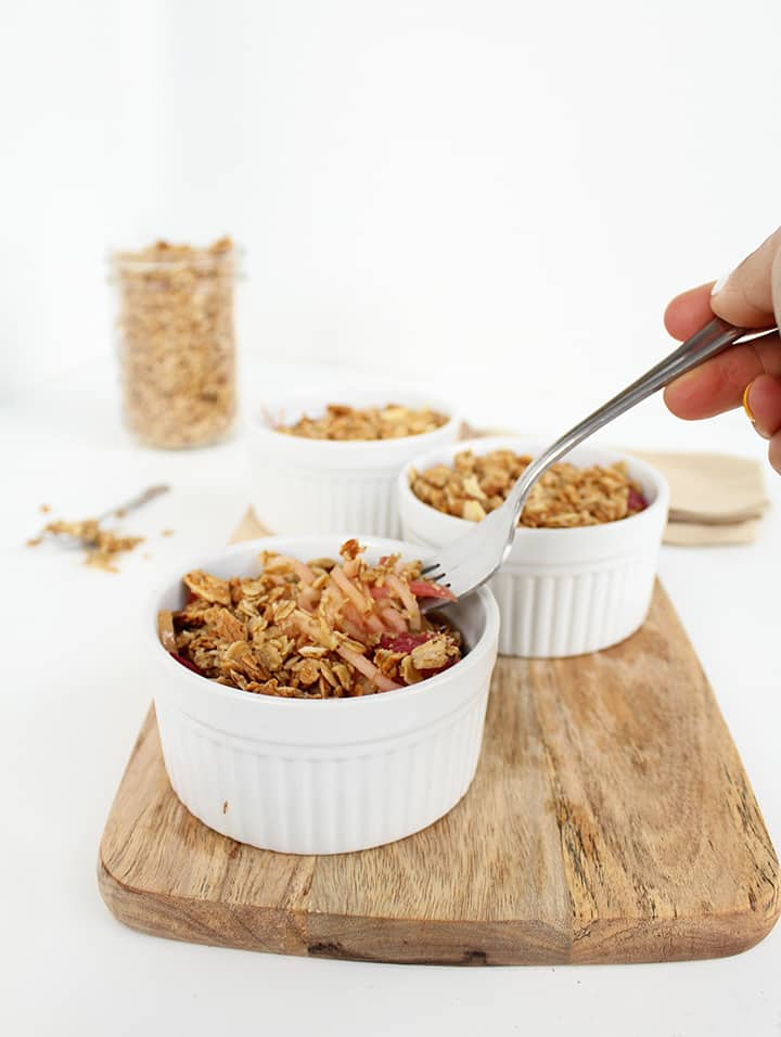 Easy Apple Noodle & Rhubarb Crisps