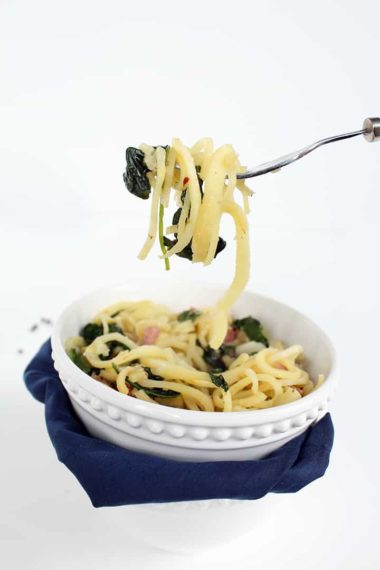 Spring Parsnip Noodles with Ramps, Baby Kale and Ham