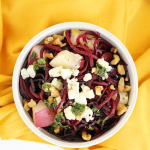 Roasted White Peaches & Beet Noodles with Honey-Mint White Balsamic