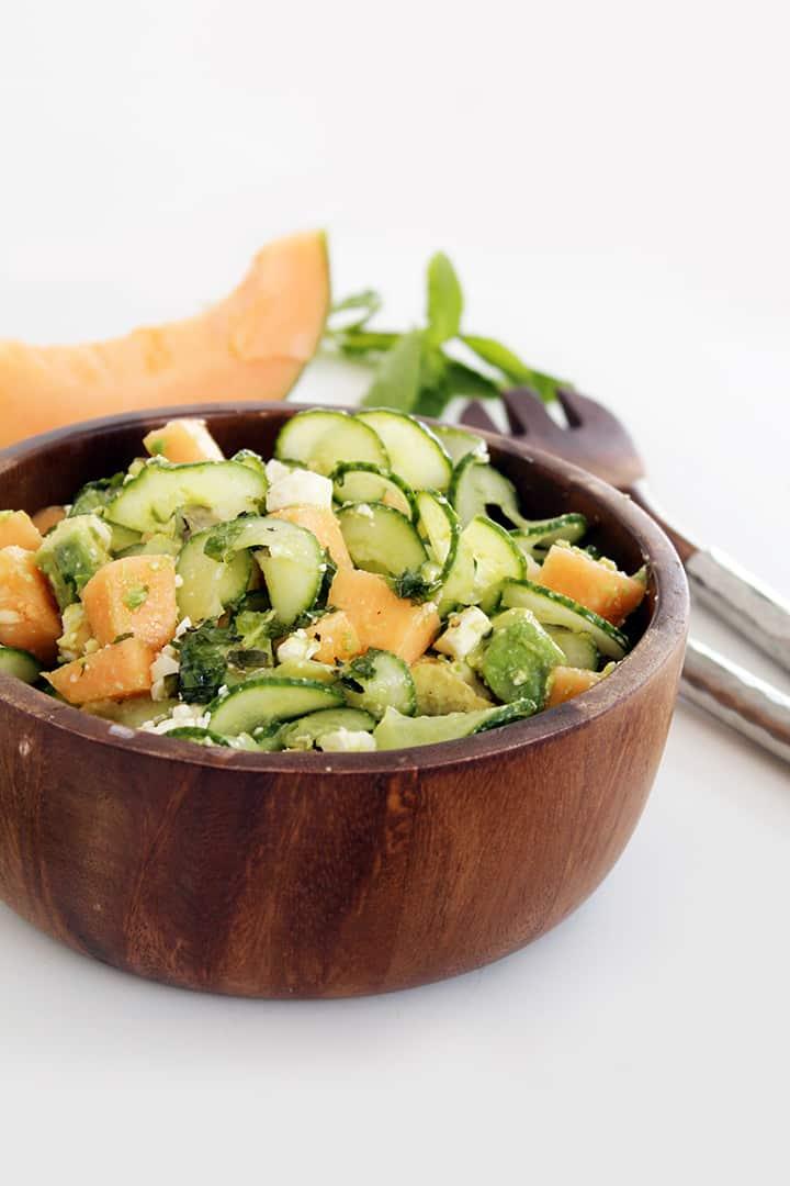 Cucumber Noodle Cantaloupe Salad with Avocado and Feta
