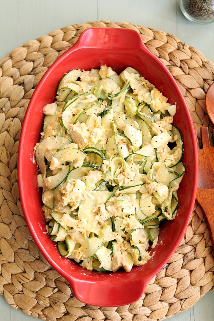 Tuna, Celery and Egg Zucchini Pasta Salad