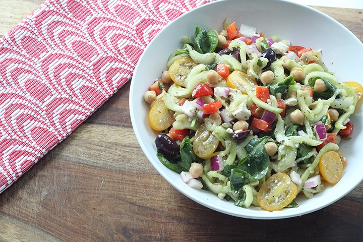 Greek Pasta Salad with Cucumber Noodles