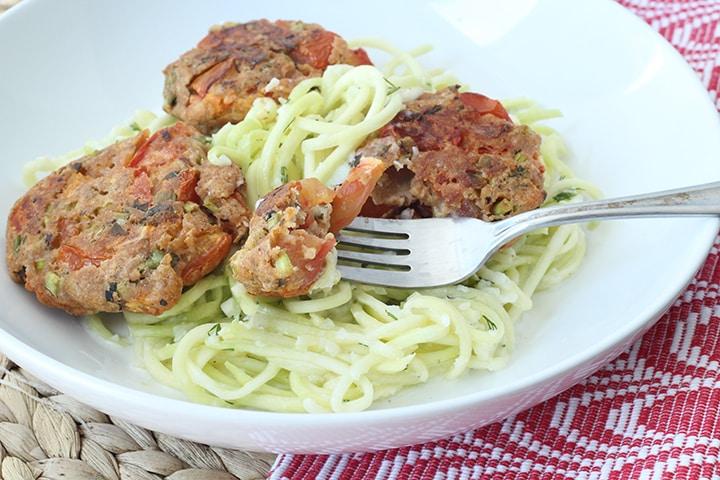 Greek Tomatokeftedes with Tzatziki Zucchini Pasta