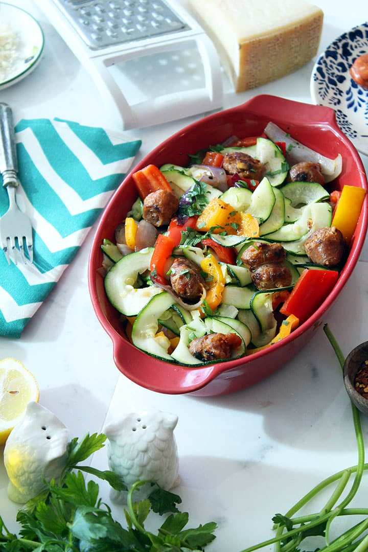 Sausage and Peppers Zucchini Pasta