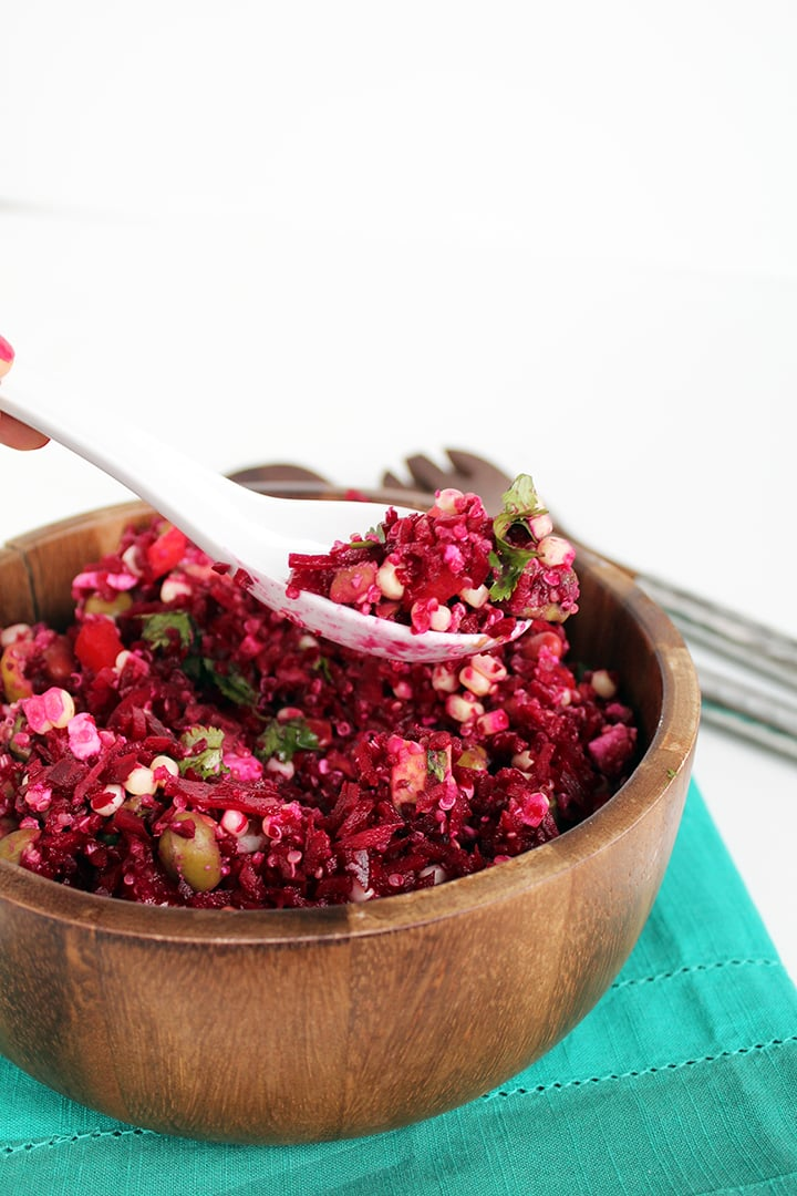 Quinoa-Beet Rice Salad with Veggies and Feta - Inspiralized.com