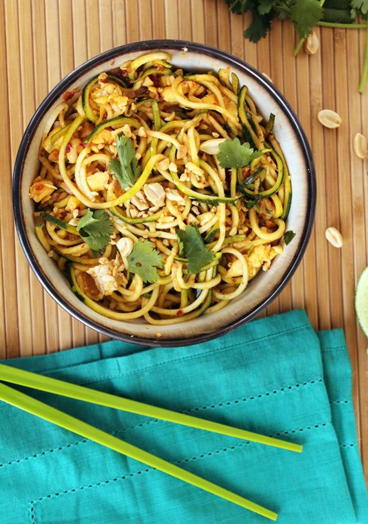 vegetarian zucchini noodle pad thai inspiralized