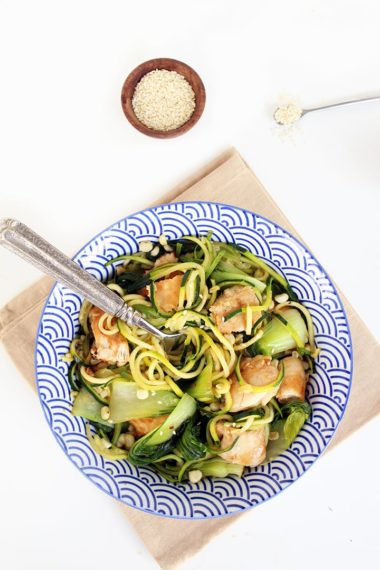 Teriyaki Chicken, Bok Choy and Corn Zucchini Noodles
