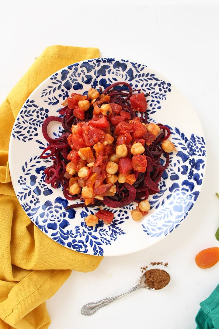 Spicy Moroccan Chickpeas with Beet Noodles