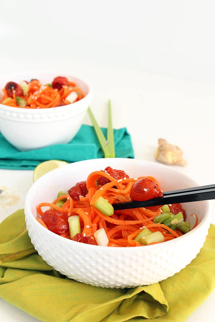 Miso Roasted Tomatoes and Carrot Noodles