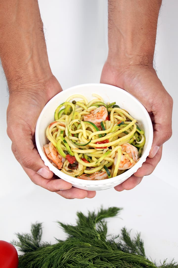 Lemon-Dill Zucchini Pasta with Shrimp and Capers