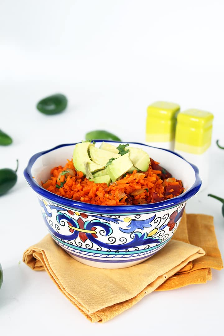 Jalapeno and Chorizo Carrot Rice with Avocado