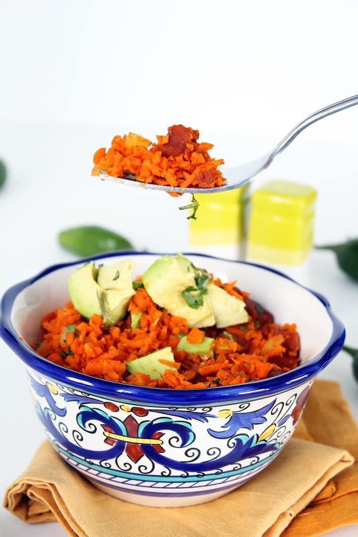 Jalapeno and Chorizo Carrot Rice with Avocado
