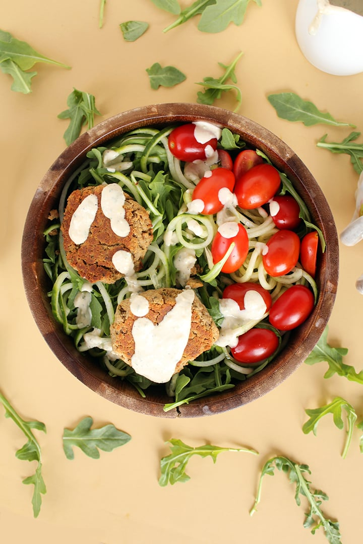 Baked Falafel and Cucumber Noodle Salad with Mint-Tahini Dressing