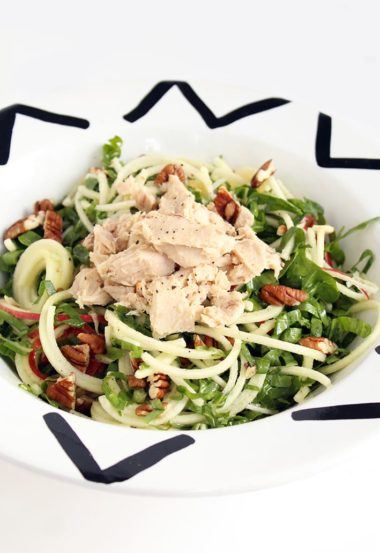 Shredded Chard, Apple Noodle and Tuna Salad with Lemon Dijon Vinaigrette