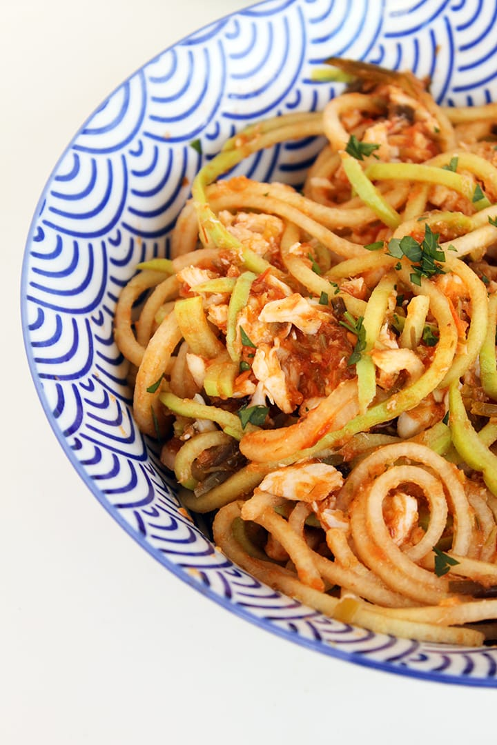 Roasted Garlic Scape and Tomato Chayote Noodles with Crab