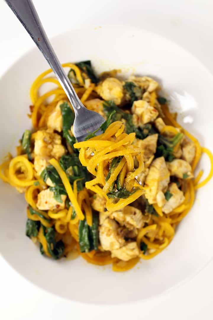 Spicy Green Harissa Chicken and Golden Beet Noodles