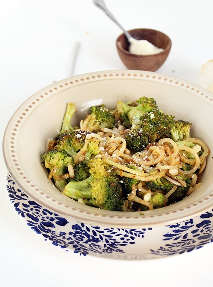 Garlic Broccoli Noodles with Toasted Pine Nuts