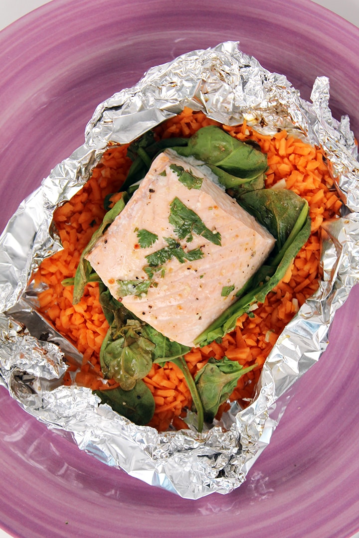 Salmon, Spinach and Sweet Potato Rice Foil Packets - Inspiralized.com