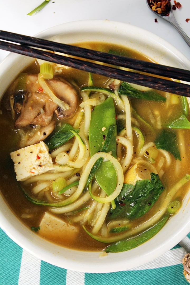 Vegan Lemongrass Thai Green Curry Soup with Zucchini Noodles