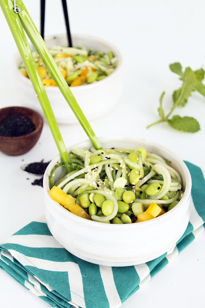 Sesame-Ginger Cucumber Salad with Mint and Edamame