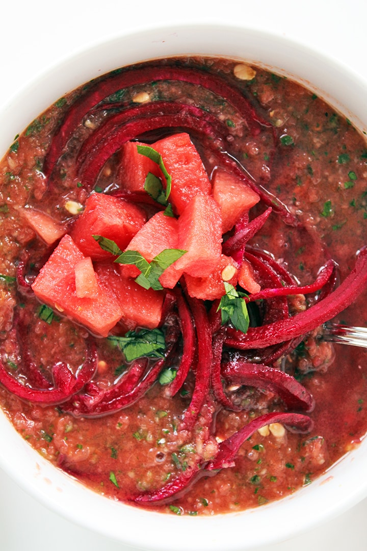Watermelon Gazpacho with Beet Noodles