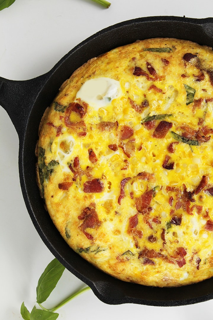 Asiago Kohlrabi Noodle Frittata with Corn, Bacon and Basil