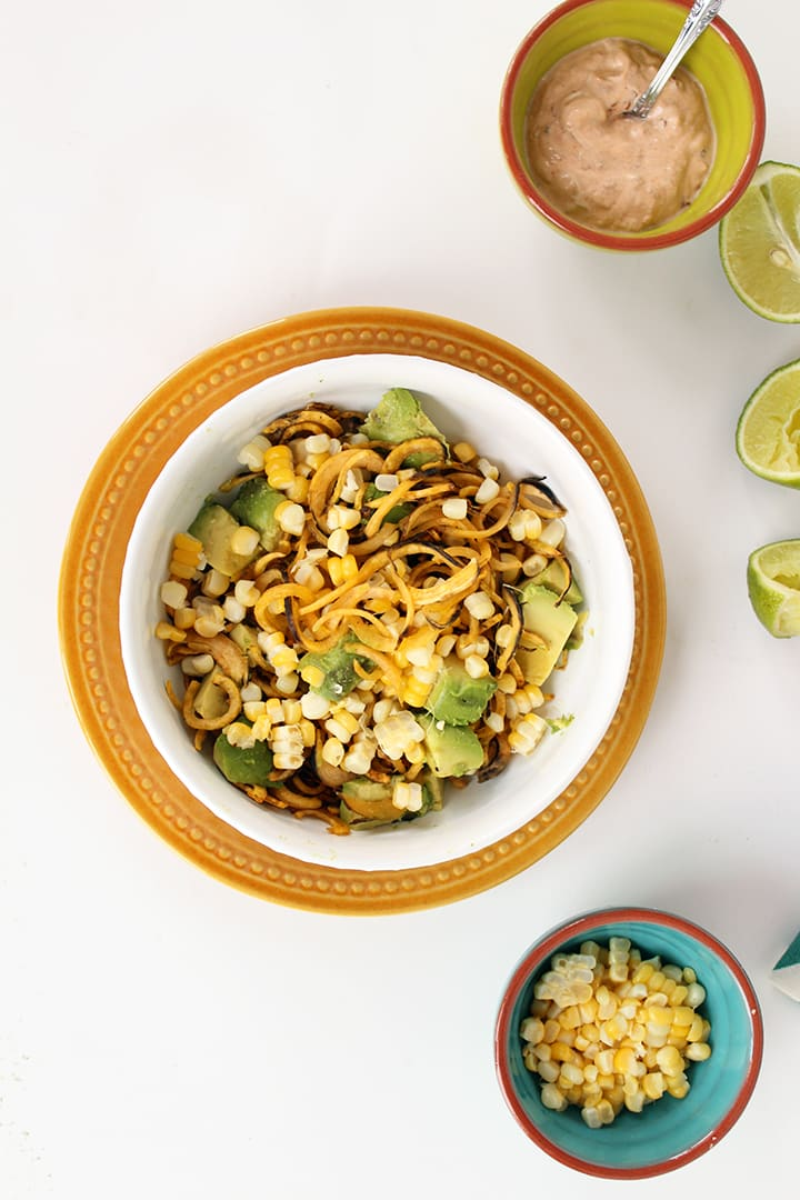Plantain Noodles with Avocado, Corn and Chipotle Greek Yogurt