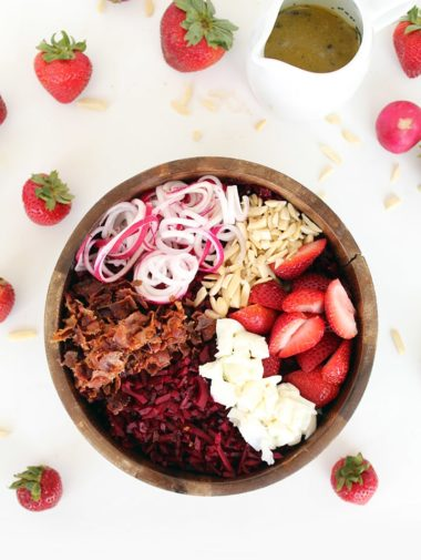 Beet Rice and Strawberry Bacon Salad with Poppy Seed Vinaigrette