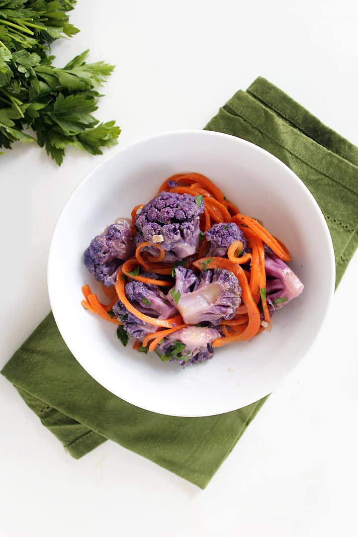 Purple Cauliflower Thai Green Coconut Curry with Carrot Noodles
