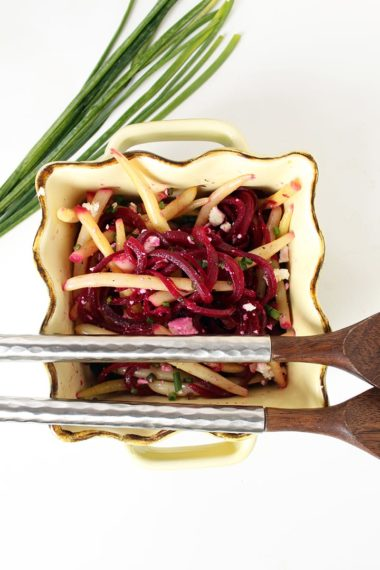 Quick Pickled Beets and Yellow Wax Beans with Feta and Chives