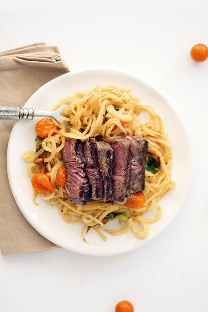 Squash Blossom and Kohlrabi Pasta with Grilled Steak