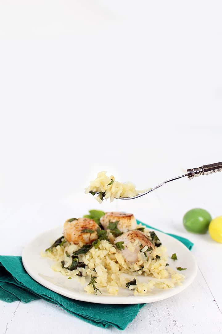 "Kohlrabi and Egyptian Spinach Creamy ""Orzo"" with Seared Lemon Scallops"