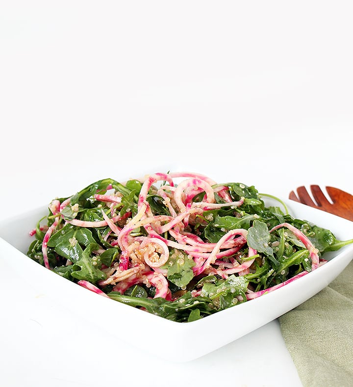 Candy Cane Beet Noodle and Arugula Quinoa Salad with Parmesan-Garlic Vinaigrette