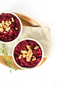 Thyme Beet Risotto with Walnuts