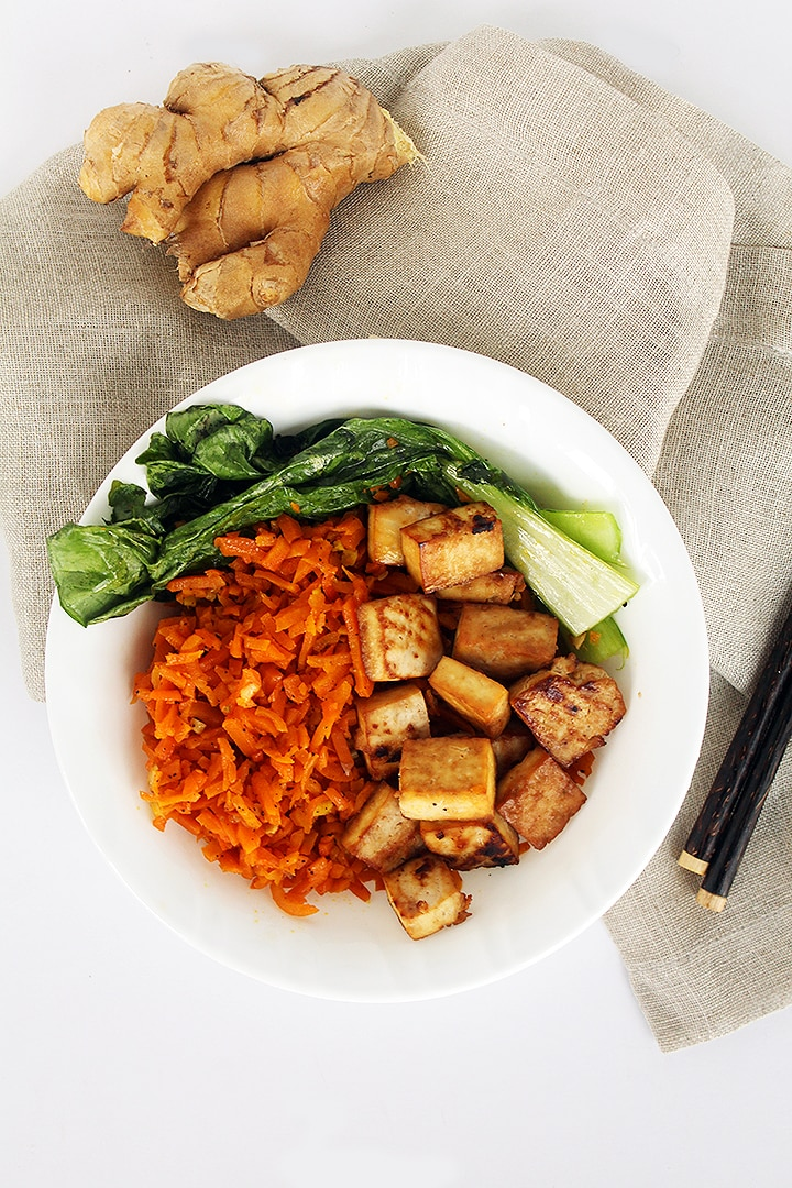 Honey Ginger Tofu and Carrot Rice with Bok Choy